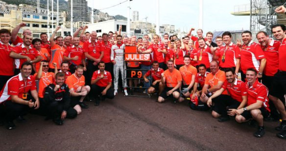 Jules Bianchi and Manor-Marussia celebrate first points after P9 at the Monaco GP 2014 - copyright Sky Sports F1
