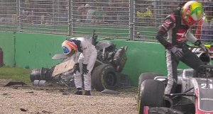 A screen shot of Fernando Alonso immediately after his crash during the 2016 Australian Grand Prix