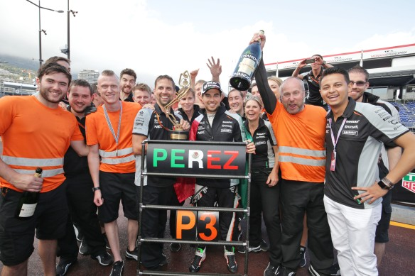 Sahara Force India F1 celebrates Perez's third position in the Monaco Grand Prix. Copyright of Force India